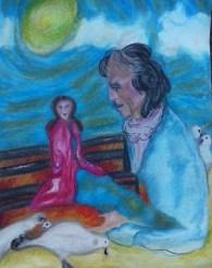 Titel nieuw werk 'Onverwachte Ontmoetingen'. Thema: Grappige onverwachte ontmoetingen waarvan je na een week nog lacht…. Oliepastelkrijt en acryl. 50 x 65 cm (c) Madeleine Oppelaar'. 15– 06 – 2015. Tijd close: 21:35 uur. Verboden te kopiëren zonder toestemming. Dank. Met beeldende groet, Madeleine.