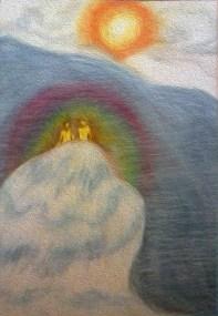 NIEUW WERKJE Titel: 'Op het topje van de ijsberg'. Thema: Toekomst in harmonie tegemoet zien. Open staan. Datum: 19-12-2016. Tijd closure: 9:40 uur. Formaat: 36 x 48 CM. Oliepastelkrijt. Gemaakt door © Madeleine Oppelaar.Verboden te kopiëren zonder toestemming. Hiervoor dank! Met vriendelijke hart en groet, Madeleine.
