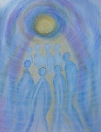 """Nieuw werkje. Titel: """"Circle Of Love"""". Thema: In liefde zijn met elkaar. 48 X 36 CM. Oliepastelkrijt. Datum: 13-08-2015. Tijd close: 16:22 uur. Gemaakt door © Madeleine Oppelaar. Verboden te kopiëren zonder toestemming. Hiervoor dank! Met beeldende groet, Madeleine."""