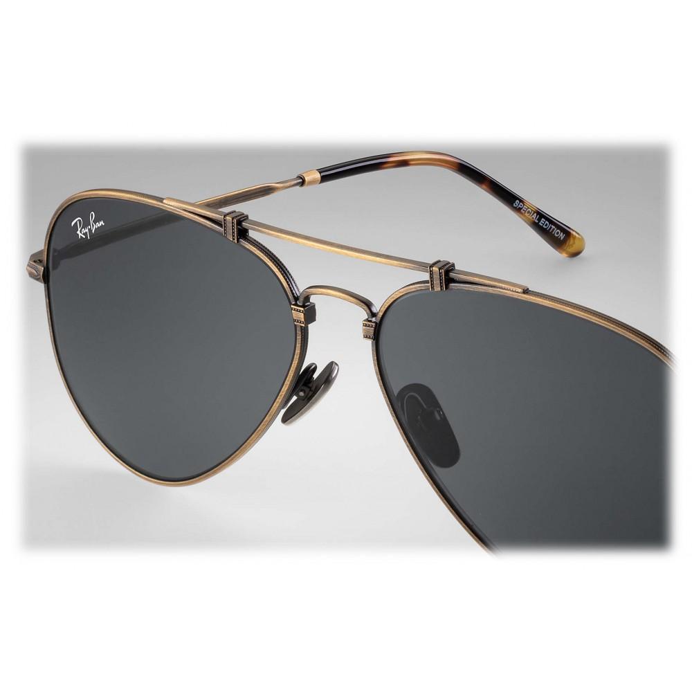 Ray-Ban - RB8125 913757 - Original Aviator Titanium - Antique Gold - Grey Classic Lenses - Sunglass - Ray-Ban Eyewear - Avvenice