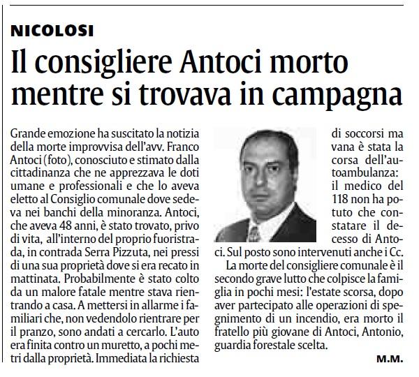 XIV anniversario dalla scomparsa dell'Avv. Francesco Antoci di Nicolosi