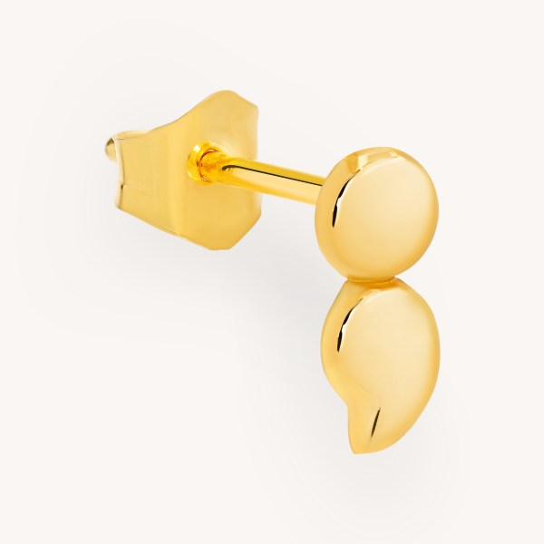 SemiC Semicolon Yellow Gold Earring