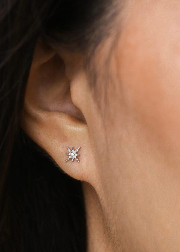 Celestial Northern Star White Gold Stud with 13 White Diamonds 1