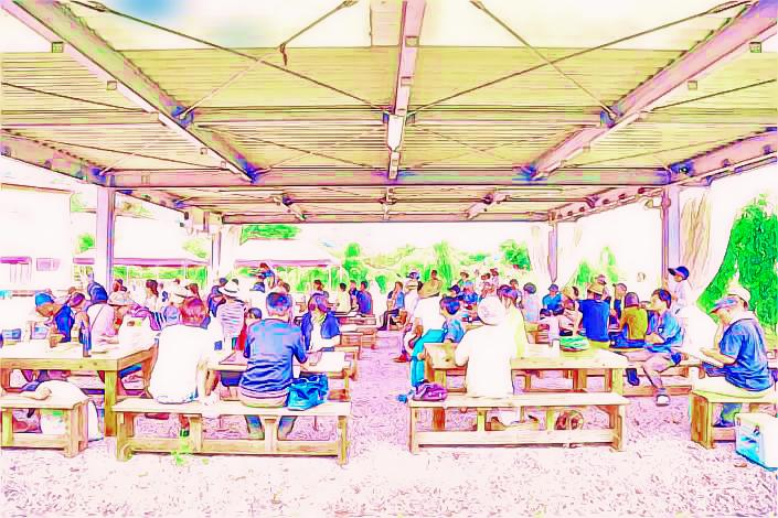 阿波町の魅力スポット-土柱の湯BBQ場