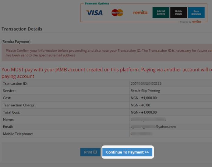 jamb original result payment