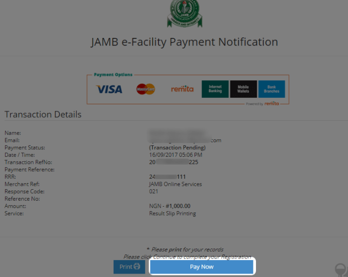 pay for jamb result