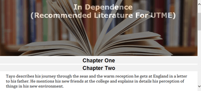 summary of in dependence novel