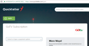 Renew GOTV Subscription on Quickteller 2017