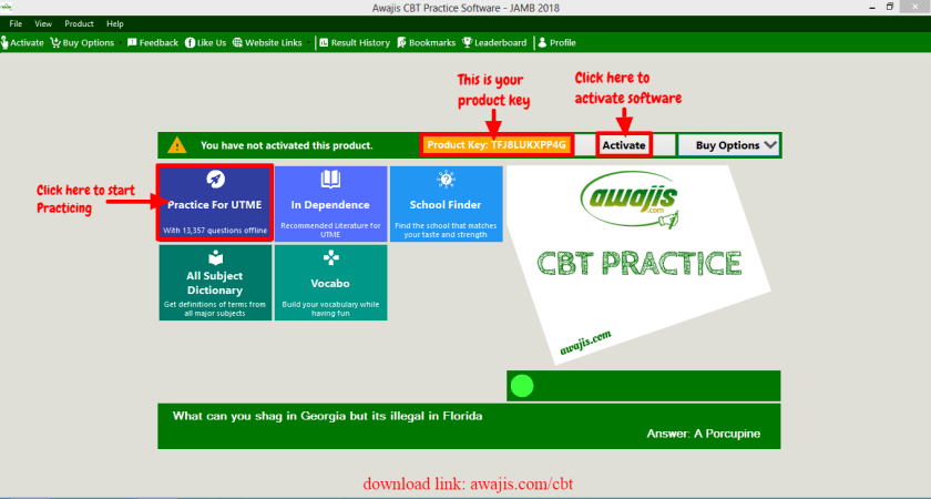jamb cbt software homepage