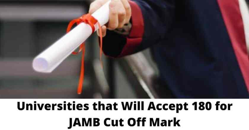 Universities that Will Accept 180 for JAMB Cut Off Mark