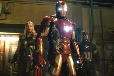 Chris Hemsworth, Robert Downey Jr. and Chris Evans in Avengers: Age of Ultron