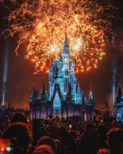 Fireworks exploding behind well lit castle.
