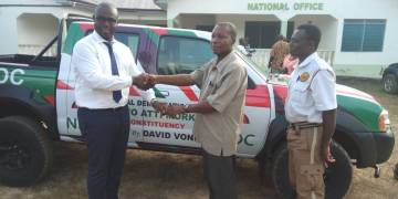 Mr. David Vondee handing over the keys of the pick to the constituency leadership