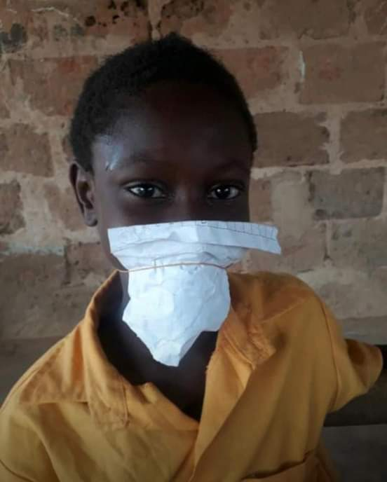 Pupil uses paper as a nose mask