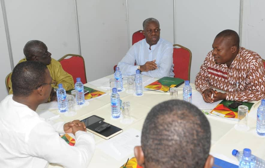 From right: Prof. John Gatsi, former Vice President late Amissah Arthur, late Chairman of NDPC PV Obeng at High level discussion on the economy of Ghana at Senchi - 2014