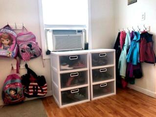 Organized Entryway, Organized Backpacks, Organized Shoes, Organized Jackets, Organize, Organization, Hooks, Organized Mudroom