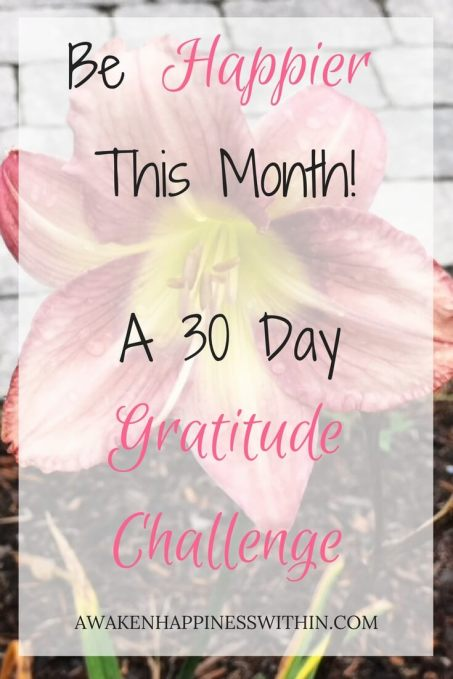 30 Day Gratitude Challenge, 30 Day Challenge, Awaken Happiness, Gratitude, Gratitude Challenge, Happier This Month, Happier, Happiness