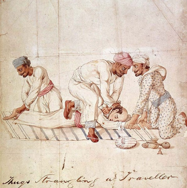 """Image: """"A groups of Thugs strangling a traveller on a highway in India in the early 19th century. One member of the group is gripping the traveller's feet, another his hands, while a third member is tightening the ligature around the traveller's neck,"""" by Anonymous Indian artist. Made for Capt. James Paton, Assistant to the British Resident at Lucknow, 1829-1840 …"""