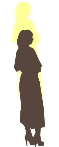 Image: Silhouette of a woman wearing a dress and high heels, side view, with a yellow shadow whose top is two feet above her head, adapted by Alice B. Clagett, 29 January 2015, CC BY-SA 4.0 ... Credit: Silhouette is from Pixabay, https://pixabay.com/en/woman-posing-silhouette-standing-150477/ ... CC0 Public Domain, free for commercial use, no attribution required.
