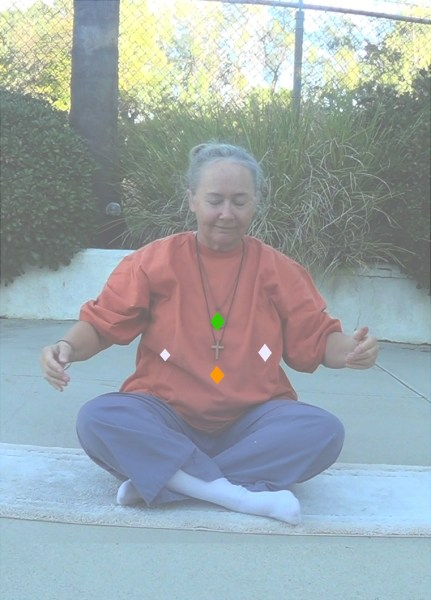 "Image: ""Central Diamond Points,"" by Alice B. Clagett, 26 December 2018, CC BY-SA 4.0, from ""Awakening with Planet Earth,"" https://awakeningwithplanetearth.com ... DESCRIPTION: Shows the author sitting crosslegged, with hands held a little away from body. Four small diamonds are drawn on the torso: A green diamond at the heart (representing the heart chakra); an orange diamond at the navel point (representing the third chakra), a white diamond on the left side of the bottom of the left rib (representing the Spleen Organelle or 'ida' point), and a smaller, slightly lower white diamond on the right side of the bottom right rib (representing the 'pingala' point)."