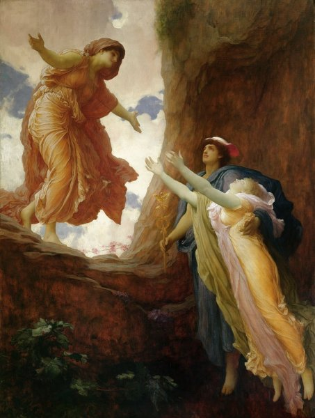 "Image: ""The Return of Persephone,"" by Frederick Leighton, 1st Baron Leighton, 1891, a mythological painting, in Wikimedia Commons. This work is in the public domain in its country of origin and other countries and areas where the copyright term is the author's life plus 100 years or less ... DESCRIPTION: Leighton depicts Hermes helping Persephone to return to her mother Demeter after Zeus forced Hades to return Persepone ... CREDIT: LMG100045 The Return of Persephone, c.1891 (oil on canvas) by Leighton, Frederic (1830-96); 203x152 cm; Leeds Museums and Galleries (City Art Gallery) U.K.; English, out of copyright."
