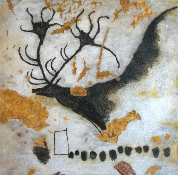 DESCRIPTION: Photograph of a painting of Megaloceros (a giant deer), from Lascaux Cave, near Montignac, in the Dordogne region of France, c. 17,000 – 15,000 BCE. The deer is black, with huge antlers; the background is white, painted over brown rock, which sometimes shows through. The Paleolithic cave was discovered by four boys on 12 September 1940 CE.