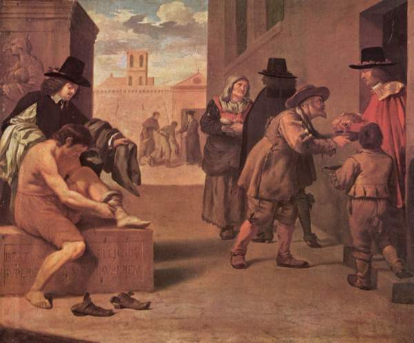 "Image: ""Die Werke der Barmherzigkeit,"" by Pierre Montallier, ca. 1680, in Wikimedia Commons ... This work is in the public domain in its country of origin and other countries and areas where the copyright term is the author's life plus 100 years or less; PD-US."