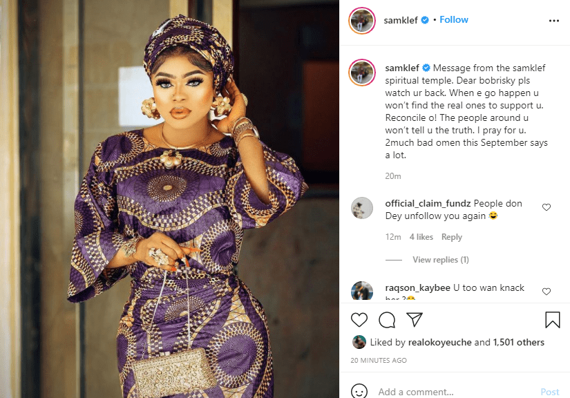 Bobrisky watch your back, try and reconcile because the bad omen this September says a lot - Samklef  1
