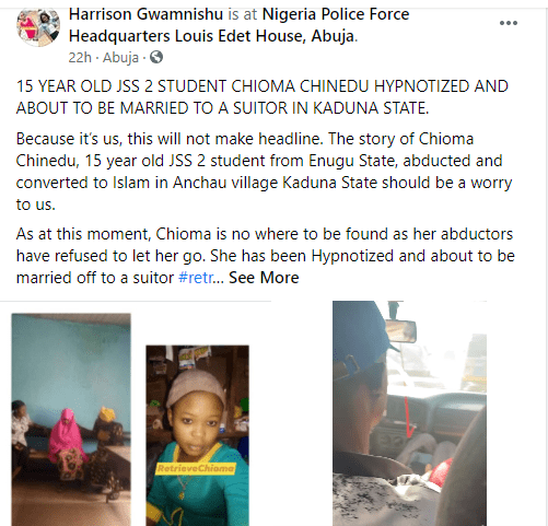 15-year-old secondary school student allegedly abducted in Enugu, forcefully converted to Islam and about to be married off in Kaduna 1