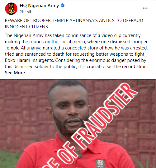 Nigerian army reacts to dismissed soldier's claim of being 'arrested, tried and sentenced to death for requesting better weapons to fight Boko Haram Insurgent's'