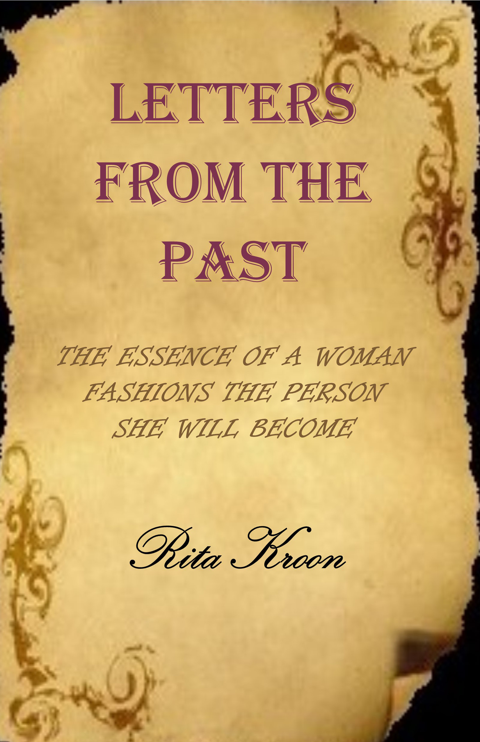 """Book cover with gold background and mauve lettering """"Letters from the Past"""" by Rita Kroon n"""