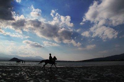 malatih kuda pacu di Pantai Ama Hami