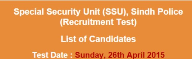 Sindh Police Special Security Unit (SSU) NTS Recruitment Test 2015