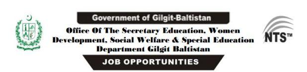 Gilgit Baltistan education Department jobs