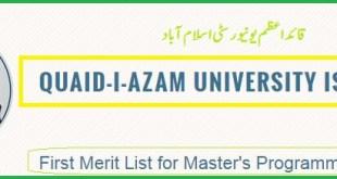 Quaid-i-Azam University (QAU) 1st Merit List 2016