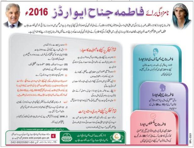 Fatima Jinnah Women Awards Dec 2016