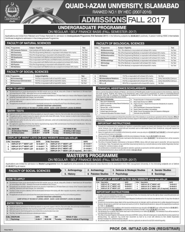 Quaid-i-Azam University Undergraduate Programs Admission 2017