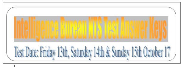 Intelligence Bureau NTS Test Answer Keys