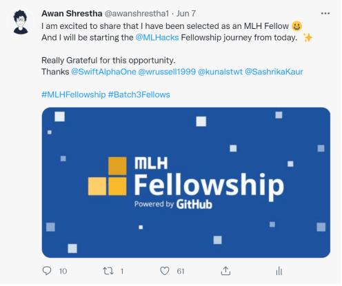 MLH Fellowship Awan Shrestha Twitter