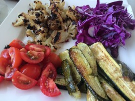 My summer veggie plate in varying states of readiness