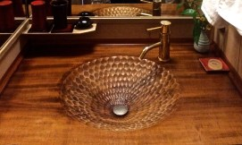 As decorative as it looks, this was a fully functional sink carved out of solid wood