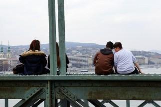 Teenagers on the Chain Bridge, Budapest
