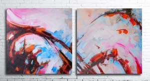 Abstract painting bwon orange white lines right lef long wall2