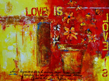 Love is acrylic mixed media awapara
