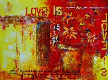 Love is acrylic mixed media awapara