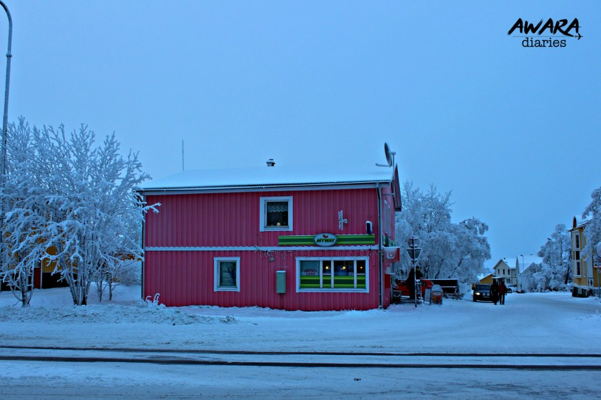 This picture was taken exactly outside the supermarket. This pink cabin was a small cafe serving people black coffee. Because of its pink colour, it stood out brightly.