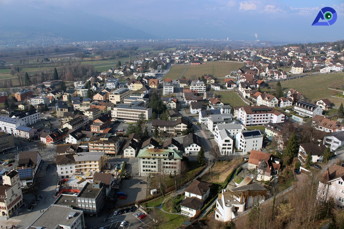 Panorama View from the Hiking Trail of Liechtenstein
