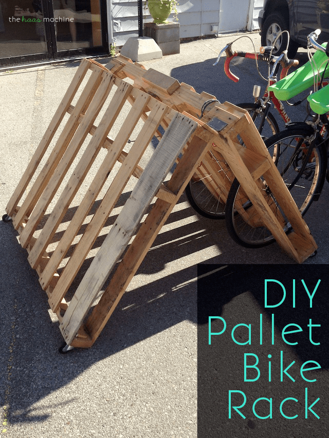 diy portable pallet bike rack makeful