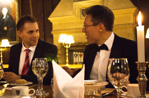 Max Schrems (left) and OII Fellow Luciano Floridi, at the 2013 OII Awards dinner.