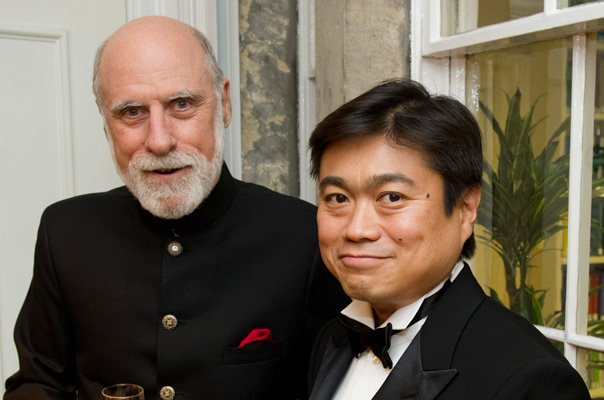 Joi Ito with fellow Lifetime Achievement Award winner, Vint Cerf, at the 2011 OII Internet Awards.